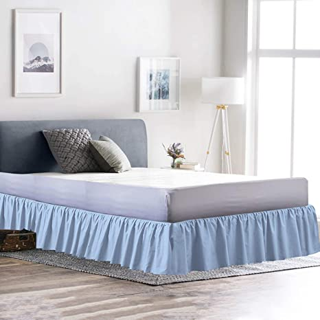 Light Blue Bed Skirt.Cottingos Ruffle Gathering Bedskirt Light Blue Queen Size Bed Wrap Platform 15 Inch Three Side Coverage Gathered Style Easy Fit Made Brushed