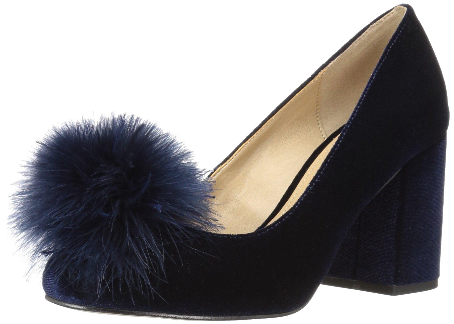 The Fix Women's Blakely Block Heel Feather Pom Pump, Midnight Navy Velvet, 8 B US