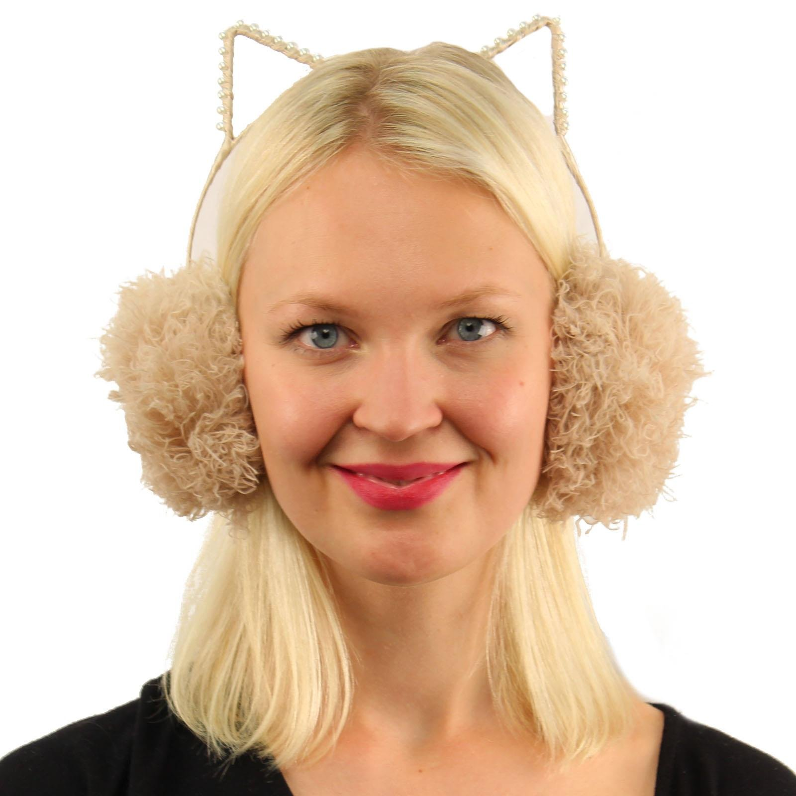 Winter Cute Kitty Cat Ears Soft Faux Fur Headband Earmuffs Earwarmer Ski Dusty Pink