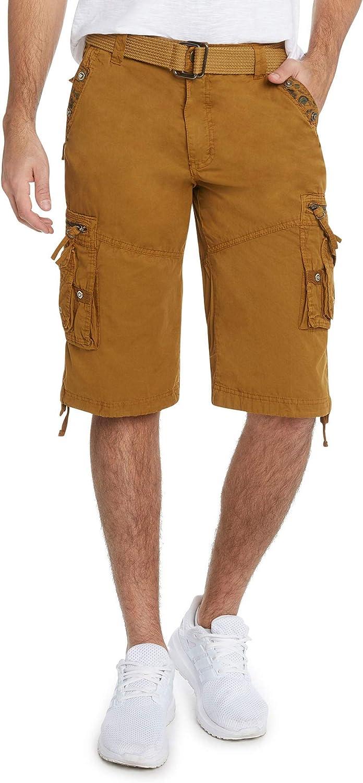 9 Crowns Men's Slim Fit Cotton Twill Cargo Utility Shorts