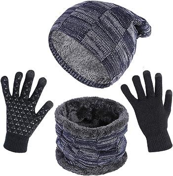 heekpek Bufanda Gorro Guantes para Hombre Invierno Regalos para Hombre Mujer Unisexo Set de Bufanda Conjunto de Guantes de Punto BufaSombrero de Invierno Gorras Con Bufanda