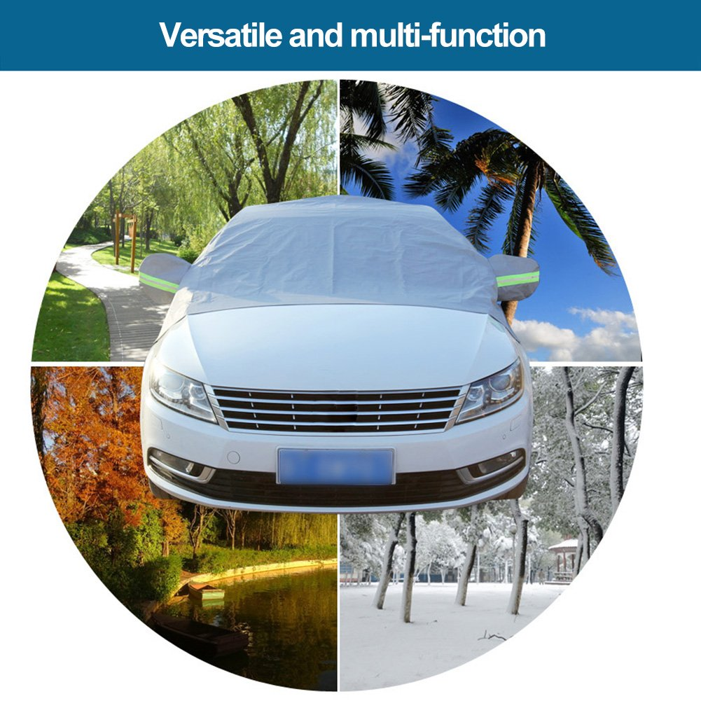 Premium Car Snow Cover Windshield Snow Cover Snow Freeze Prevention Cover Half-Body Car Clothing Winter Car Half Cover Protects Windshield and Wipers from Snow, Ice, and Frost Fits Most Car(Silver)