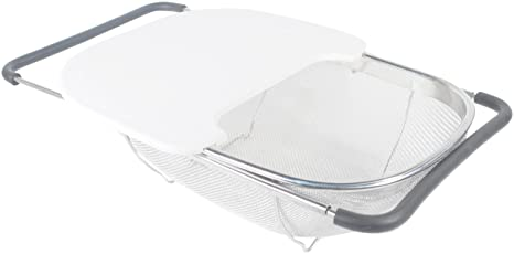 ExcelSteel 201 Expandable Stainless Over The Sink Strainer With Cutting  Board