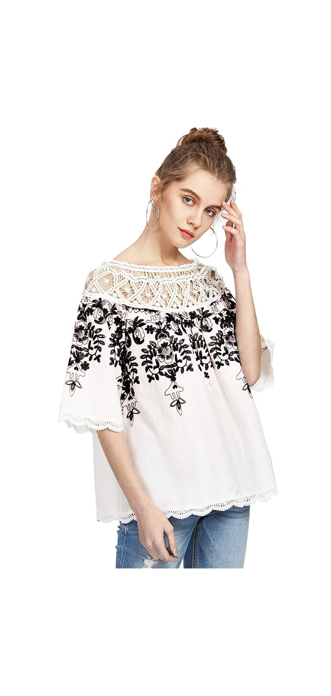 Women's Cold Shoulder Floral Embroidered Lace Scalloped