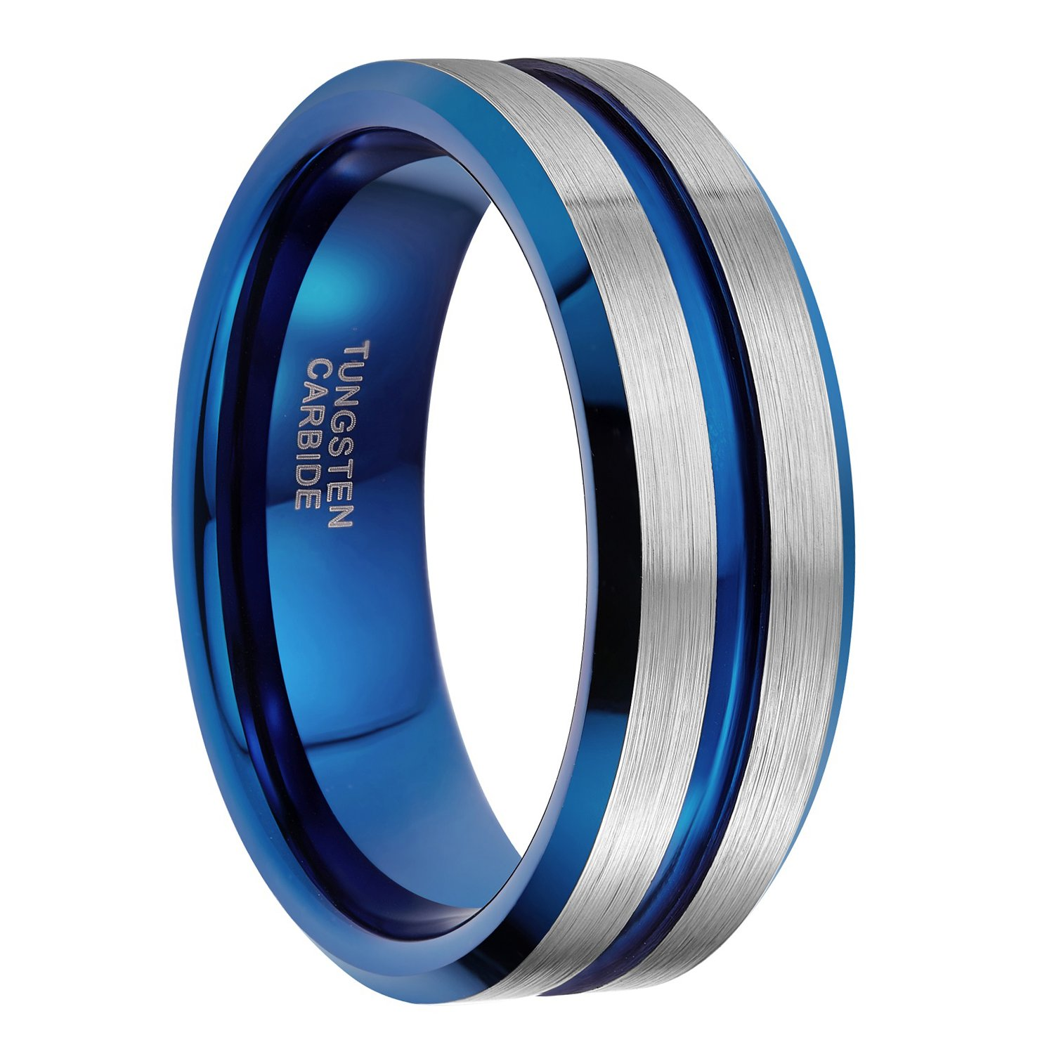 8mm Tungsten Ring for Men Blue Thin Groove Line Dome Brushed Comfort Fit Wedding Band Size 10