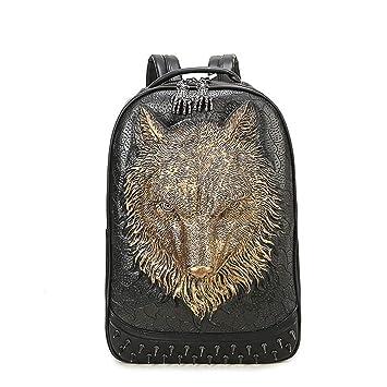 LUCKGXY Mochila Unisex del Ordenador portátil, 3D Wolf Head PU Mochily College Schoolbag para Viajes al Aire Libre de Compras de Ocio Camping y Diario,Gold: ...