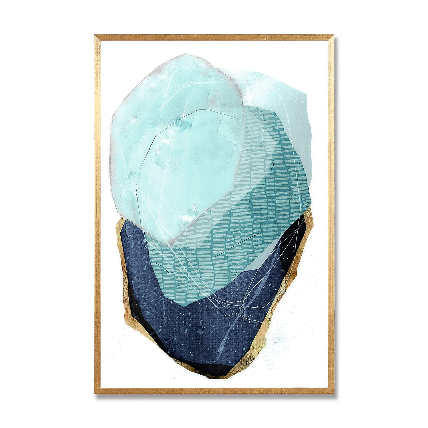 MOTINI Abstract Wall Art Blue and Gold Modern Style Wall Decor Artwork Print Unique Pictures on Acrylic Board Framed Paintings for Living Room, Bedroom, Kitchen, Office, 15.75x23.62inch