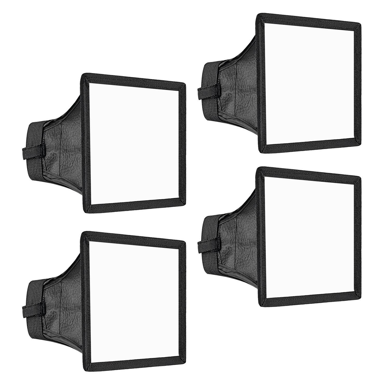 Neewer 4-Pack 6x5 inches/15x13 centimeters Speedlite Softbox Flashlight Diffuser Kit for Canon 580EX II 600EX-RT, YongNuo YN560 III, Nikon SB-900 SB-910, Neewer TT560 TT520 TT660 and Other DSLR Flash