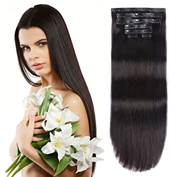 Amazon 20seamless clip in hair extensions with invisible 20quotseamless clip in hair extensions with invisible thin skin weft remy human hair thick pmusecretfo Image collections