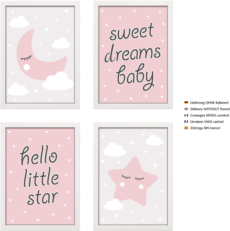 4 Affiche D/écoration Murale Lune /Étoile Rose Format A4 PREMYO Tableau Chambre Enfant D/écoration Chambre B/éb/é Fille