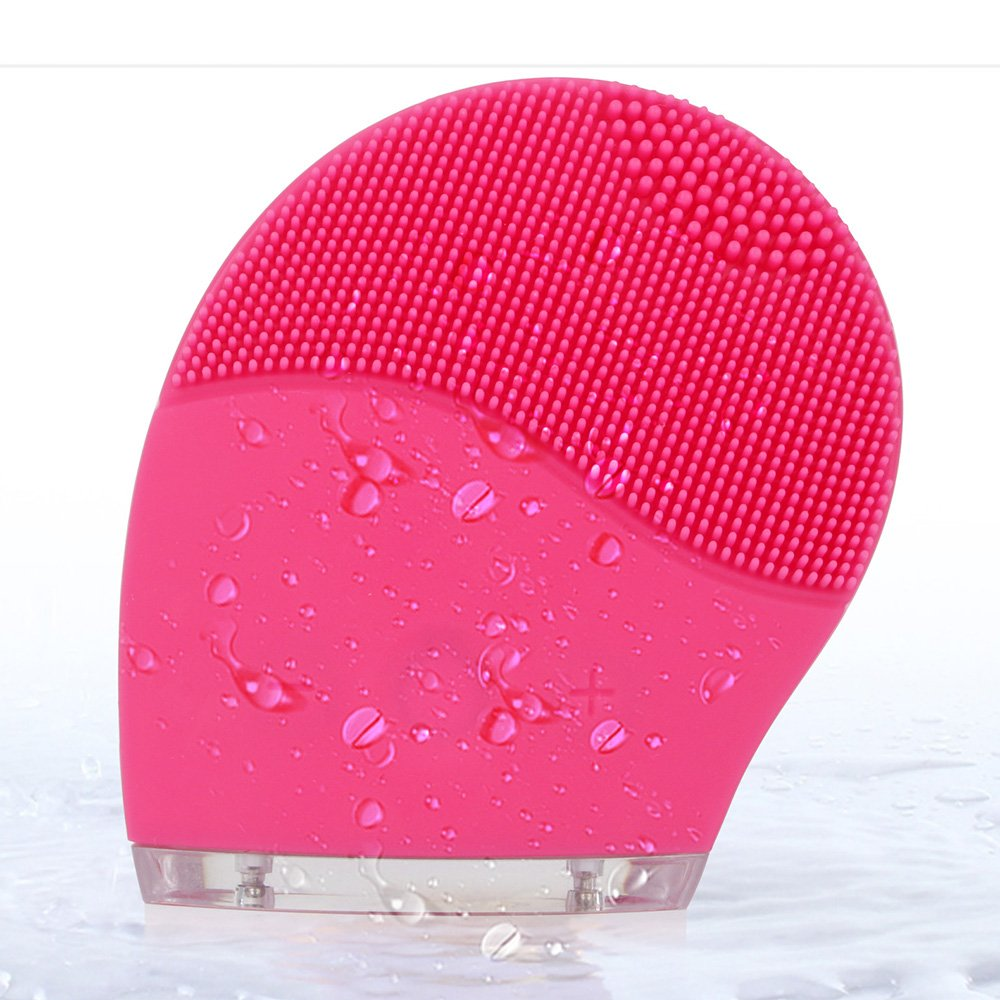 MS.DEAR Sonic Facial Cleansing Brush, Silicon Face Cleanser Massager, Vibrating Waterproof Facial Cleansing System (PINK)