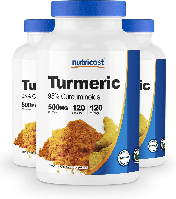Nutricost Turmeric Curcumin Pills (95% Curcuminoids) (3 Pack) - 500mg, 120 Pills Per Bottle
