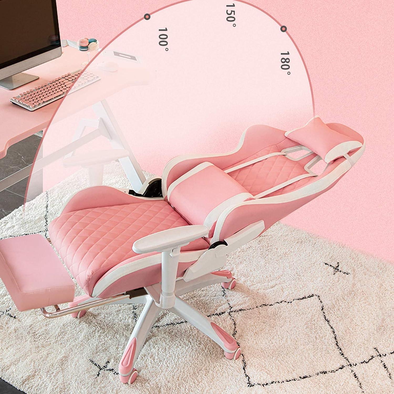 YYL kontorsstol gaming racerstol, liggande kontor dator skrivbord stol med ländrygg och huvudkudde stol svängbar stol (färg: Stil4) Stil1
