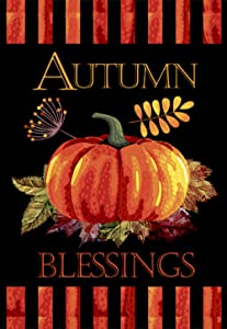 "Morigins Fall Garden Flag with Pumpkin - Autumn Blessings Double Sided Decorative Flag 12.5""x18"""