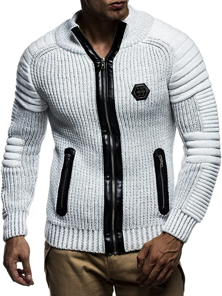 Leif Nelson Men's Zip Up Knitted Cardigan LN5175
