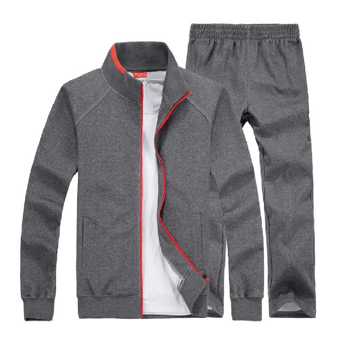 Comaba Men Stand-up Collar with Zip Oversize Casual 2-Piece Set Sweatsuits Tracksuits