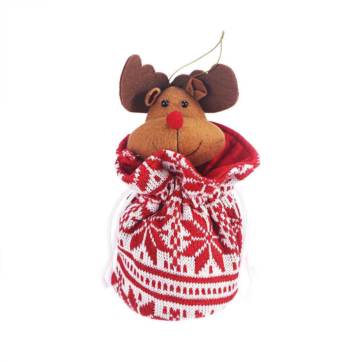 BESTOYARD Noël Elk Cordon Cadeau Sac Laine À Tricoter des Rayures Présente Bas De Charge Sac À Main 3 pcs