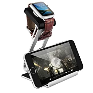 Apple Watch Stand,Moobom 2 in1Aluminum Stand TPU Charging Dock Station Stock Cradle Holder For iPhone Apple Watch iWatch iPhone Smartphone
