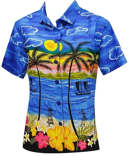 Manga Corta Camisa Hawaiana para Mujer Blusas de Cuello Desgaste de la Playa del Traje de baño Azul: Amazon.es: Ropa y accesorios