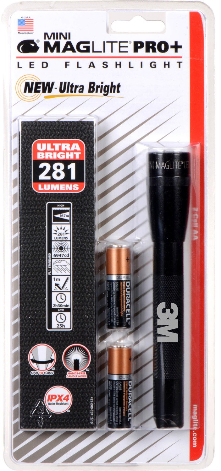 MAGLITE SP+P01H 2-AA Cell Mini PRO+ LED Flashlight with Holster, Black - 281 LUMENS - ULTRA BRIGHT WITH 3M LOGO