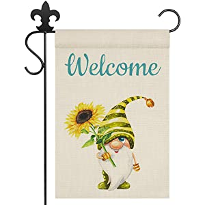 NERUXI Sunflower Gnome Welcome Garden Flag, Vertical Double-Sided Burlap Garden Flags, Rustic Farmhouse Yard Flags, Spring Summer Seasonal Yard Outdoor Decoration 12*18 Inch