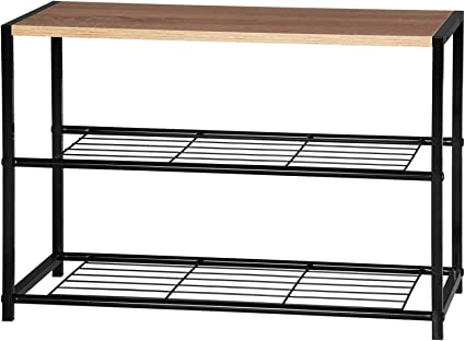 2 Tiers Wooden Shoe Rack Metal Shoe Benches For Hallway Shoes Storage Organizer Amazon Co Uk Kitchen Home