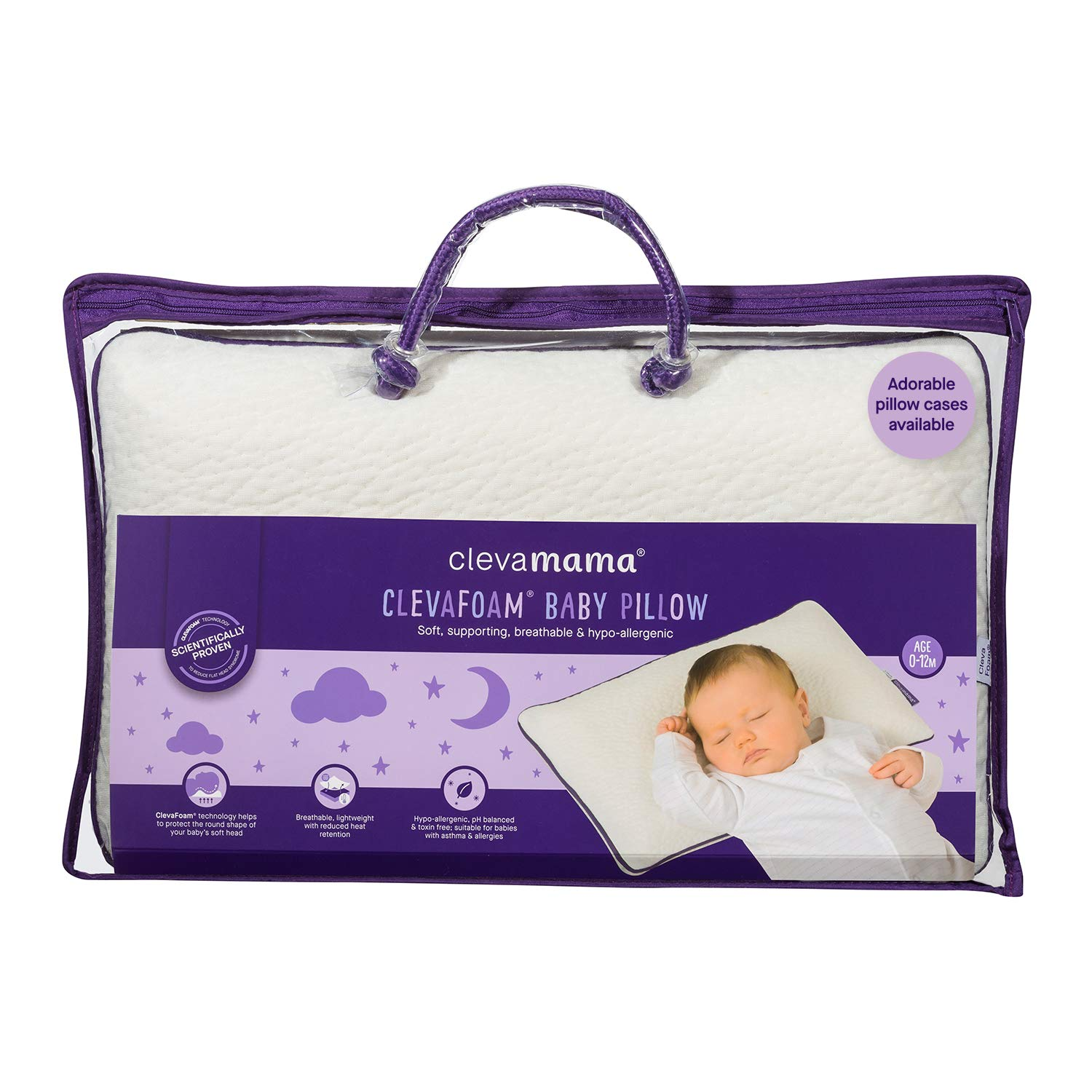 ClevaMama ClevaFoam Baby Pillow - Breathable Infant Pillow to Prevent Flat Head Syndrome 0-12 month by Clevamama
