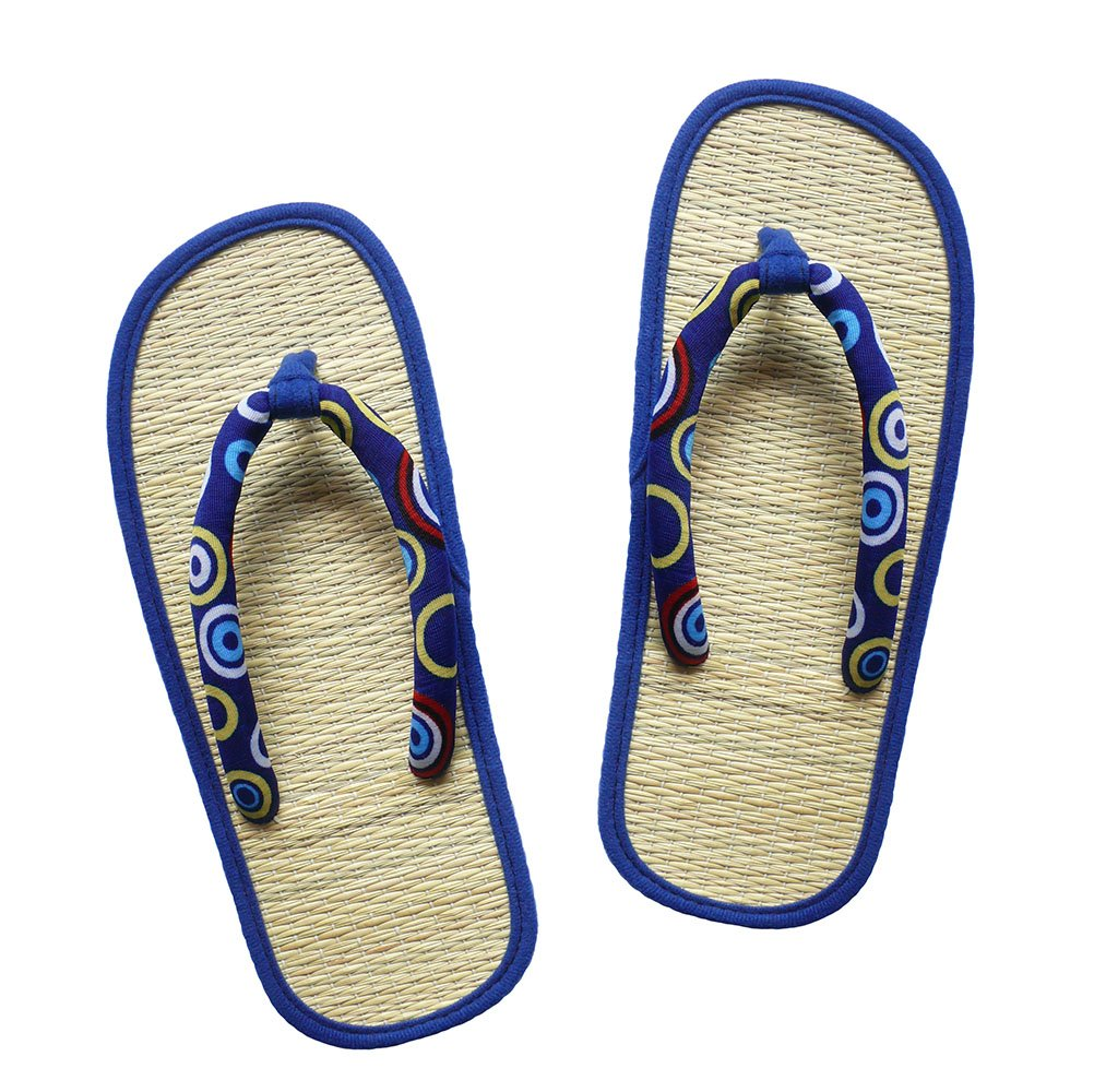 USA STEP Ladies Women's Big Girls' Handmade Fashion Indoor Outdoor Home Spa Hotel Blue Circle Pattern Straw Seagrass Summer Flip Flops Sandals Slippers Thong
