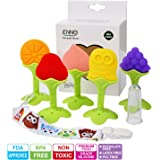Enno Soft Silicone Baby Teething Toys BPA Free Fruit Teethers Toys with Pacifier Clip and Finger Toothbrush for Boys & Girls Infant and Toddler(5 Pack)