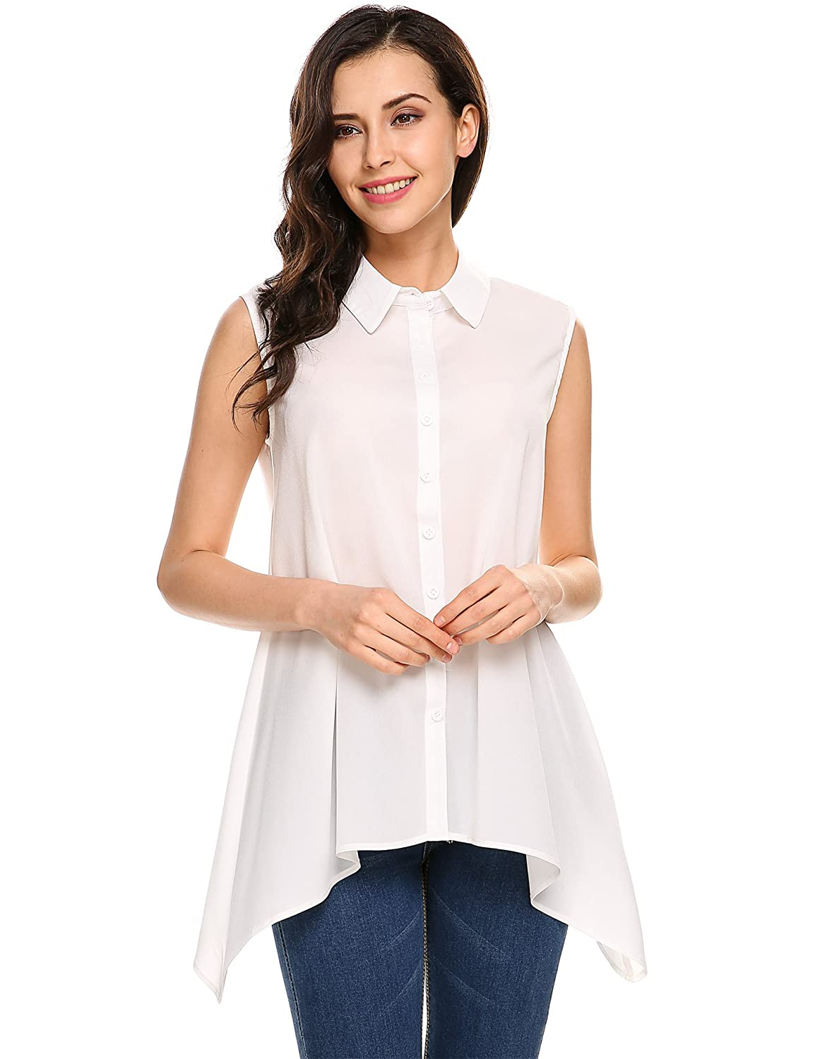 a826e10a516a02 Meaneor Women Casual Chiffon Sleeveless Button Down Shirts Summer Loose  Blouse Tops at Amazon Women s Clothing store