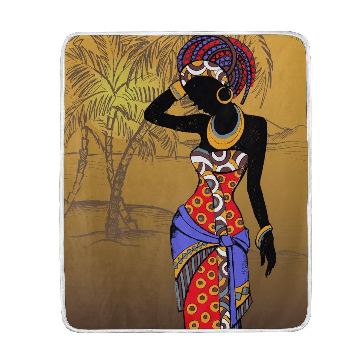My Little Nest Hand Drawn Beautiful African Woman Soft Throw Blanket Lightweight MicrofiberCozy Warm Blankets Everyday Use for Bed Couch Sofa 50'' x 60''
