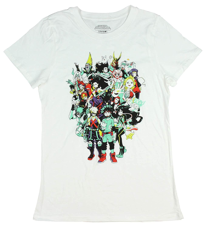 662d59bde Amazon.com: My Hero Academia Juniors Character Group Graphics Design T-Shirt  White: Clothing