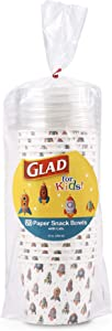 Glad for Kids Rocket Ship 12 Fl Oz Paper Snack Bowls with Lids, 20 Count | Disposable Snack Cups with Lids | Heavy Duty Disposable Soak Proof Microwavable Paper Bowls for Soup, Ice Cream