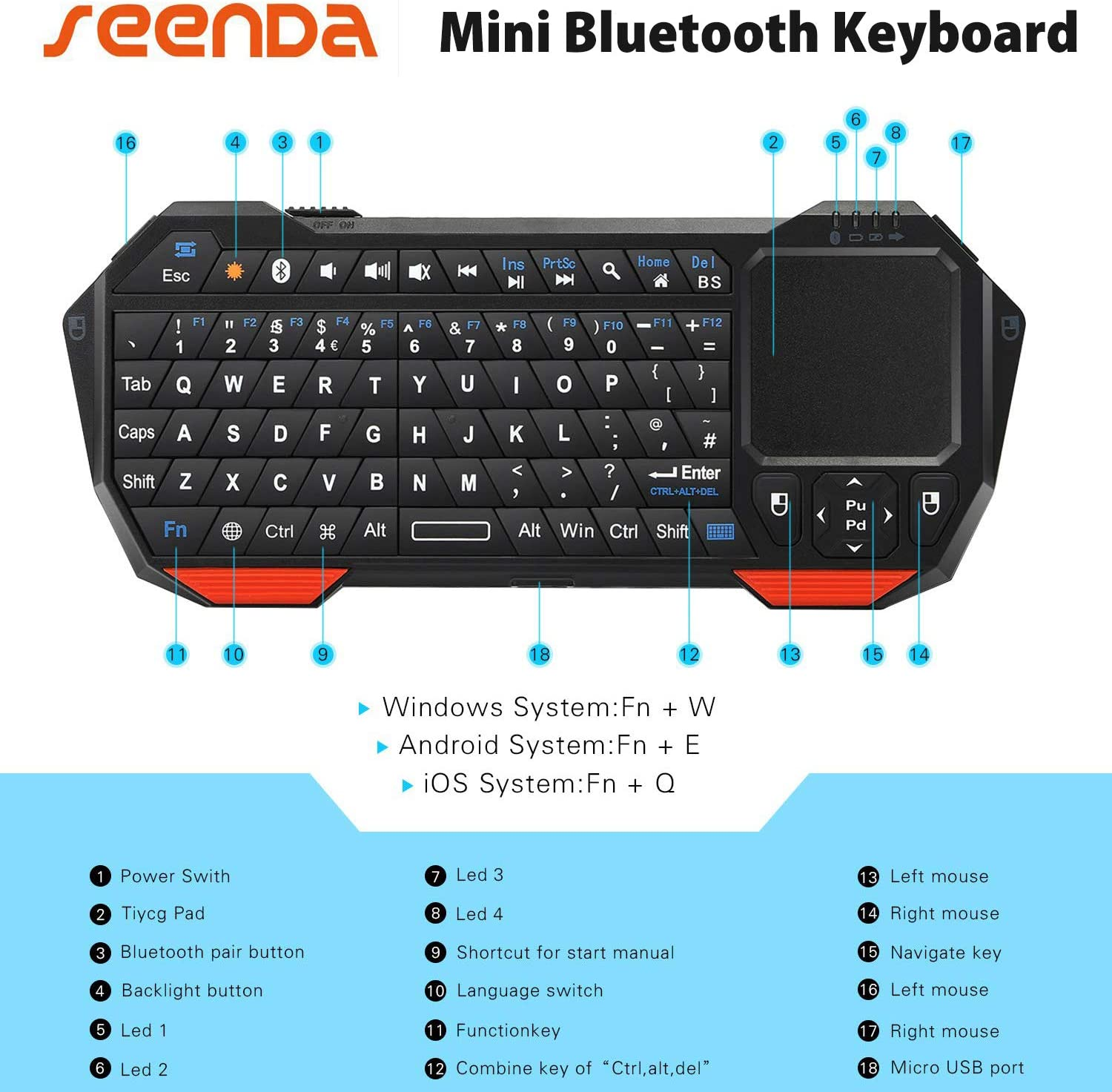 Remote Control for YouTube Black Wireless Mini Keyboard /& Mouse Easy Control Browser for Toshiba 24D3863DB 24-Inch