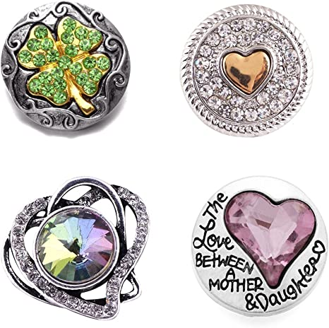 12pcs Heart Love Pattern Snap Charms For 18mm Snap Ring Bracelet DIY Jewelry