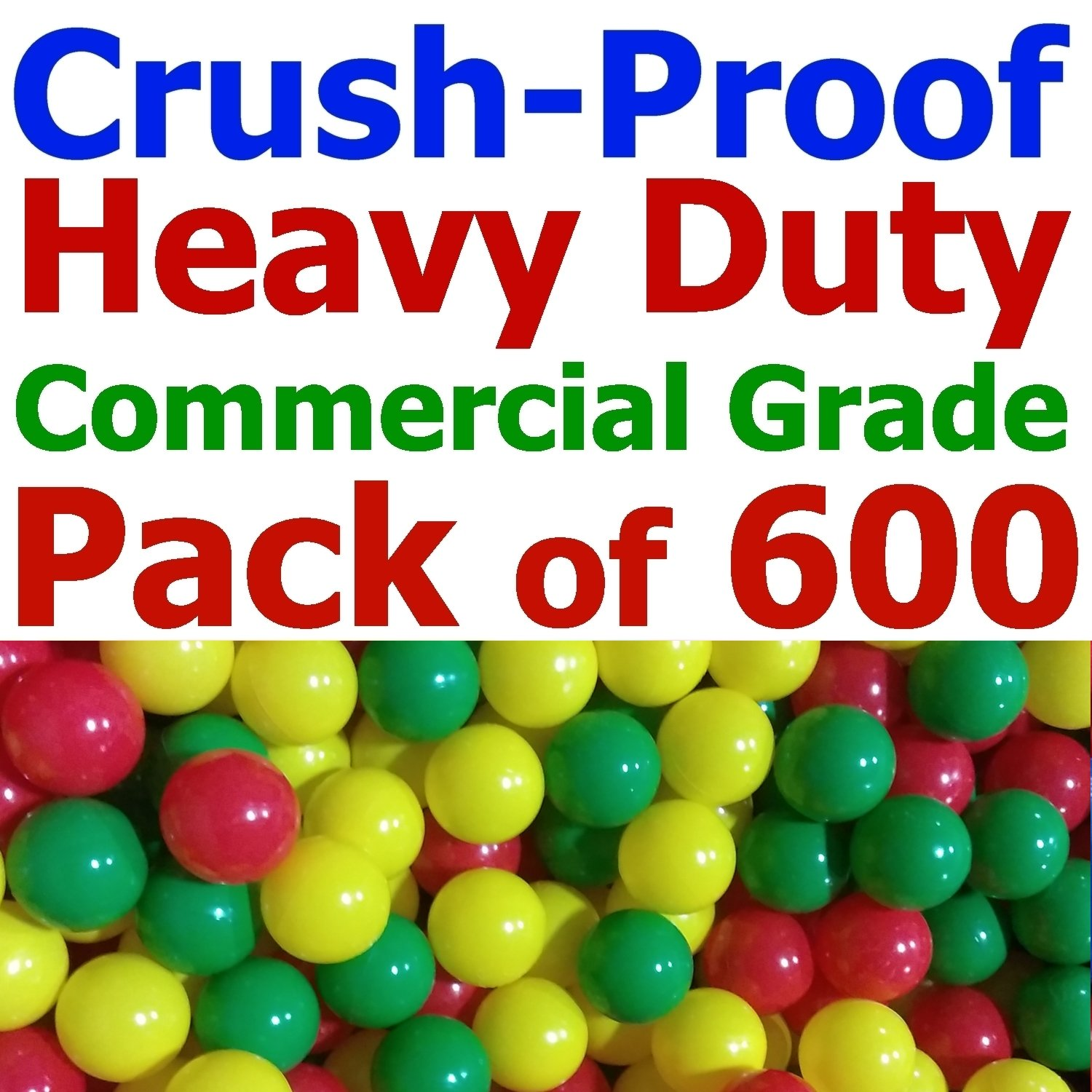 My Balls Pack of 600 Jumbo 3' Red/Yellow / Green Colors of Season Heavy Duty Commercial Grade Crush-Proof Ball Pit Balls - Phthalate Free BPA Free Non-Recycled Plastic CMS