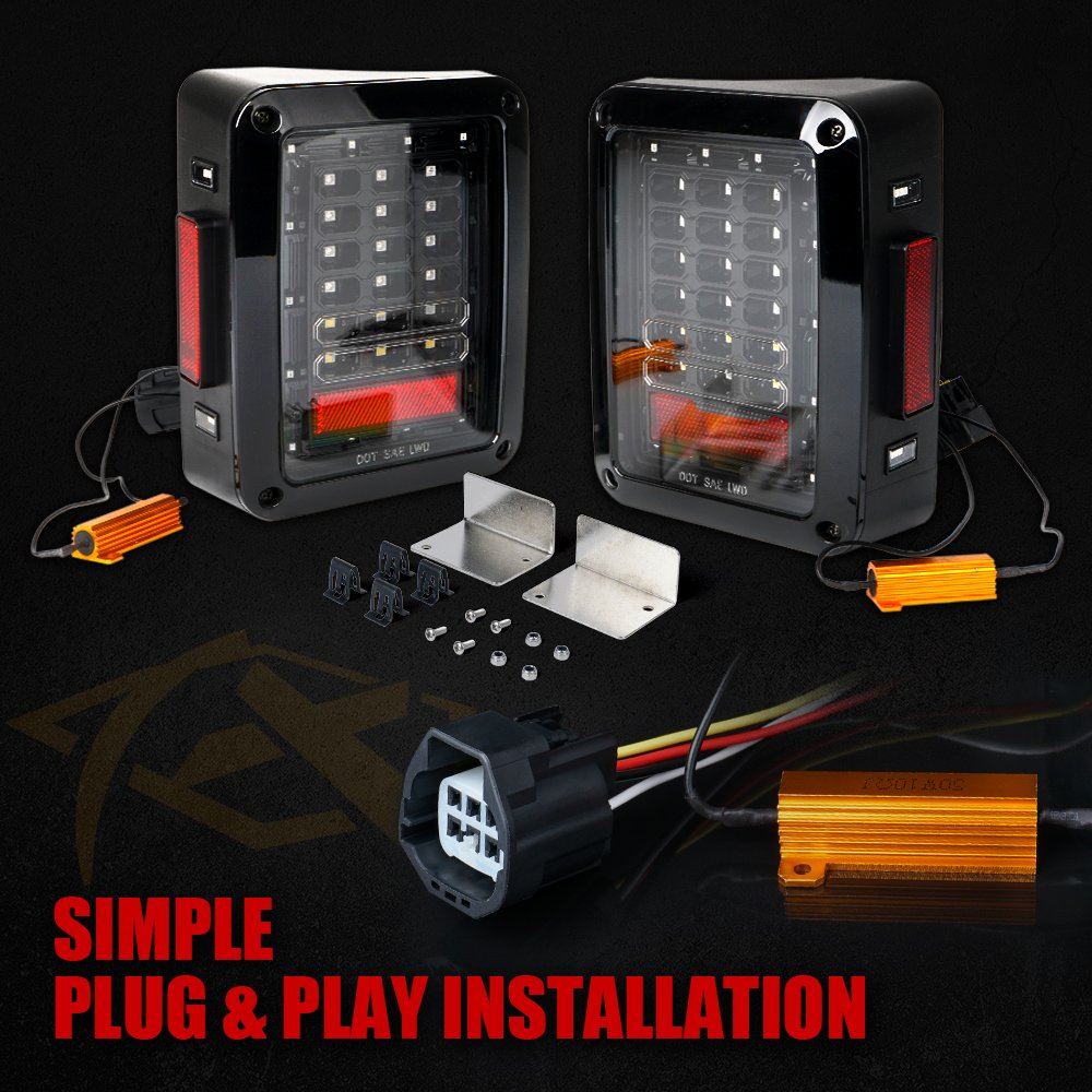 Xprite Bold Series Jeep Wrangler Jk Led Tail Lights Smoke Lens Red Wiring Installation Brake Rear Light Assembly