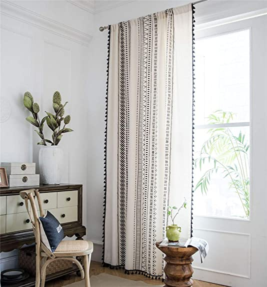 YOU SA 2-Panel Black Striped Window Curtains with Tassel Cotton Linen Geometric Design Curtain for Bedroom Rod Pocket Top 59 Wx102 L,Black