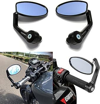 DREAMIZER Universale Alluminio Specchietti Manubrio Motociclo 8mm 10mm Moto Specchietti Retrovisori Laterali per bici da strada Sport bike Dirt bike Cruiser Chopper Scooter Nero