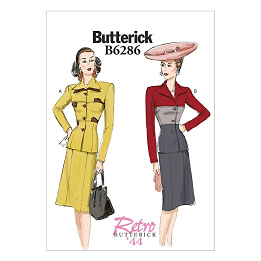 1940s Sewing Patterns – Dresses, Overalls, Lingerie etc Butterick Patterns B6286 Misses Jacket & Skirt B5 (8-10-12-14-16) $6.96 AT vintagedancer.com