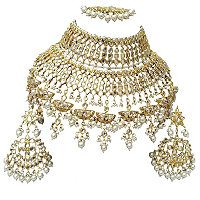 a69c354d87ff2 Finekraft Attractive Meena Kundan White Pearls Designer Gold Plated  Necklace Jewelry Set for Girls