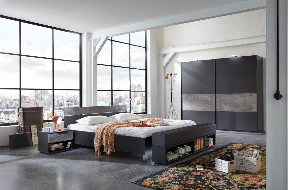 Dreams4Home Schlafzimmer Set \'Mats\' - Bett 180x200 cm, ohne Matratze ...
