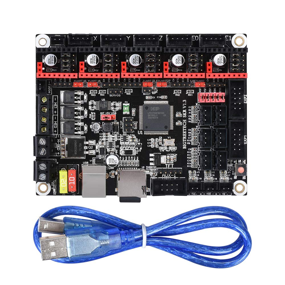 WitBot SKR V1.3 Control Board 32-Bit CPU Equipped with Open Source Firmware Marlin2.0 and Smoothieware and Use Gold Deposition Technology Support TMC2130 TMC2208 DRV8825 A4988 Driver for 3D Printer.