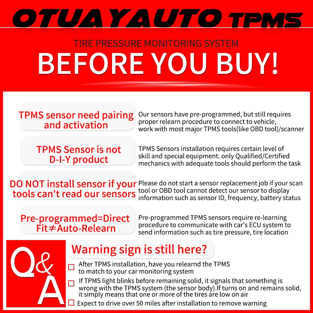 Maxima 2016-2018 for Nissan Altima 2013-2018 40700-3JA0B TPMS OTUAYAUTO 4-Pieces Tire Pressure Sensor Pathfinder 2013-2018 Infiniti Q60 2016-2019