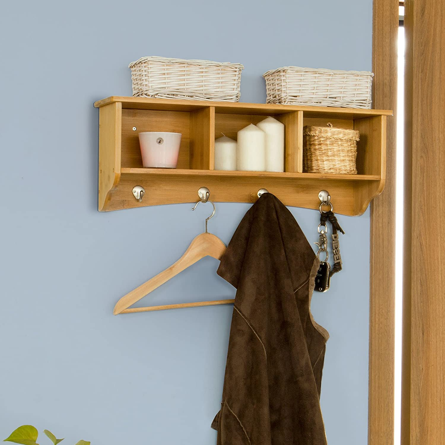SoBuy® FRG48-N, Bamboo Wall Display Storage Unit with 3 Components 4 ...