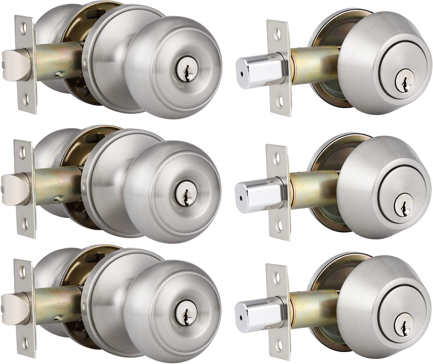 3 Pack Keyed Alike Entry Door Knobs and Single Cylinder Deadbolt Lock Combo S...