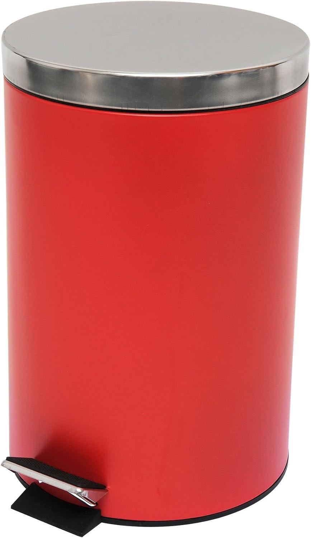 Acero MSV Cubo DE Basura con Pedal METALICO 12L Rojo 39.4x25.1x25.1 cm