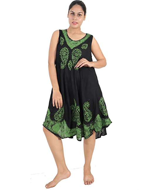 c1ca3ddc64d Wevez Embroidered Batik Maxi Dresses for Women (Black Green)  Amazon ...