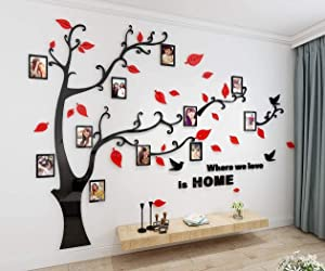 3D Tree Wall Stickers - DIY Photo Frame Tree Wall Decal Family Photo Frame Sticker Murals Wall Décor for Nursery Living Room Bedroom TV Background Home Decorations (XL:10979in, Red Right)