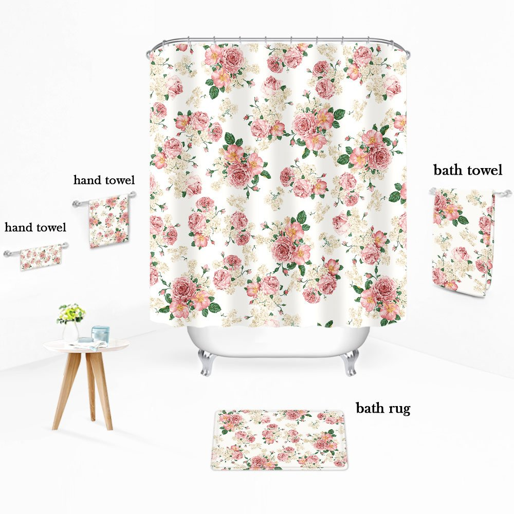 Amazon.com: Uphome Pink Rose Flower with Leaves Customized Bathroom ...
